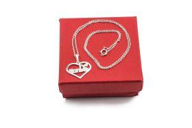 TianDe Stříbrný řetízek s přívěskem ve tvaru srdce